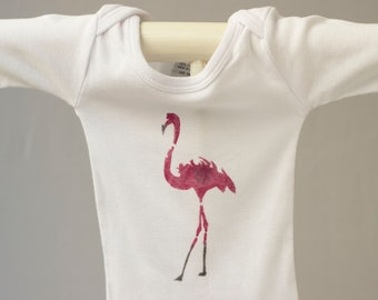 Organic cotton t-shirt: flamant rose MONDAIN (sociable, social butterfly, socialite pink flamingo) animal totem 2016 illustration