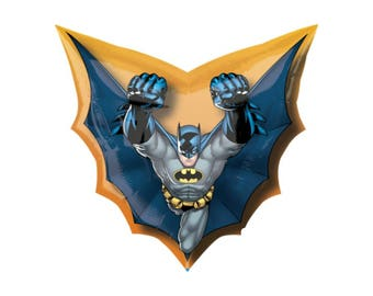 Batman Balloon, Super Hero Balloon, Gotham City, New York City, DC Comics, Birthday Party, Decorations, by uptown party goods on etsy.com