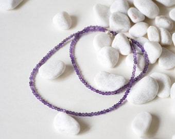 Handmade Sterling Silver with Tiny Amethyst Beads Necklace, Birth stone for Feb