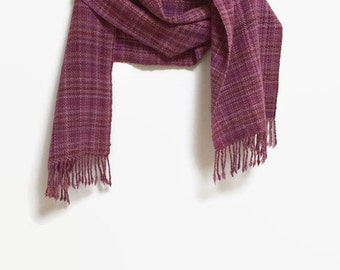 Handwoven Plaid Scarf/ Stole, Shawl,  Women's, Wrap, Pink, Purple and Maroon Plaid, Merino Wool, Trad and Feminine for winter