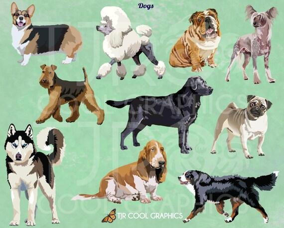 Dogs Set 1 Digital Realistic Clip Art Png Printable