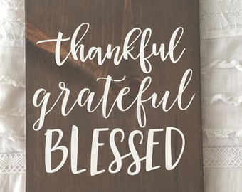 thankful, grateful, blessed wood sign, fall decor