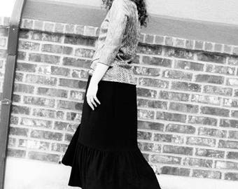 Black Maxi Skirt - Anti-allergenic Bamboo Rayon - Custom Made to Fit  - Elastic Waist - Modest Long SKirt - CASUAL AND DRESS - Plus Size