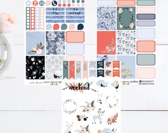 Winter Florals Weekly Monthly Planner Sticker Kit Erin Condren Inkwell Press Happy Planner Plum Paper Floral Set weekly kit Foxes Fox Blue