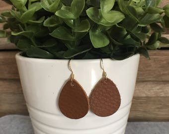 Leather Earrings/Statement Earrings/Gifts for Her/Teardrop Earrings/Drop Earrings/Lightweight Earrings/Diffuser Jewelry/Brown Leather