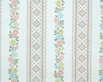 1950s Vintage Wallpaper by the Yard - Floral Wallpaper Pink Blue and Yellow Floral Stripe on White