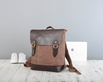 Handmade  waxed canvas backpack in brown