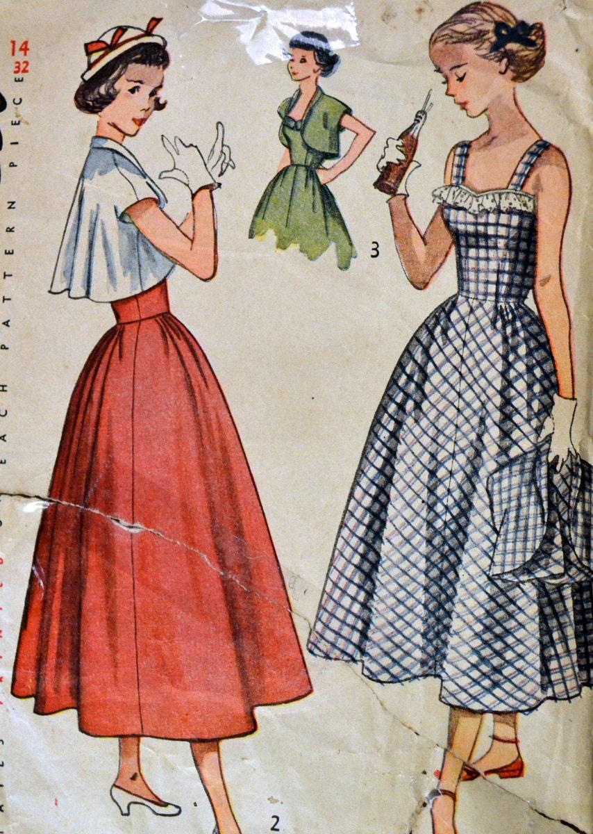 Jahrgang 40 Jugendliche Sunback Kleid und Bolero Nähen Muster