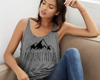 Mountains Tri blend Slouchy layering Tank Top Beach Coverup Shirt