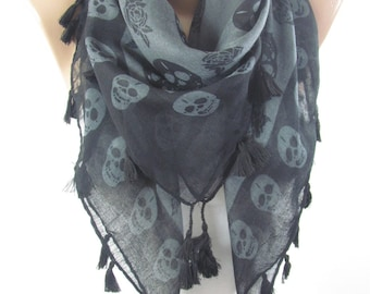 Mothers Day Gift For Mom Skull Scarf Day of The Dead Scarf Cross Bones Tassel Scarf Halloween Scarf Fashion Accessories Gift For Her Women