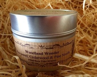 Woodland Wonder Vegan Soy Wax Hand Poured Candle with Rosewood, Cedarwood & Pine Pure Essential Oils