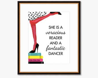 She is a Voracious Reader and a Fantastic Dancer -- Home Decor -- Watercolor Fashion Print