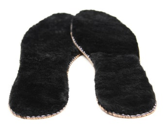 Authentic Sheepskin Thick Insoles Shoes Boots Fur Inner Soles Wool Leather Black