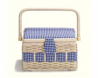 Blue country sewing box