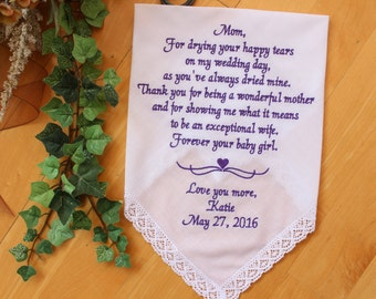Mother of the Bride handkerchief, gift for mom,wedding favor,personalized, custom, Forever your BABY Girl, wedding hankie, hanky LS6F23