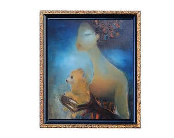 "Abstract figure of a lady with small dog Original oil on canvas portrait Lady with Pomeranian in Royal Blue dress size 24""x30"" fine art oil"