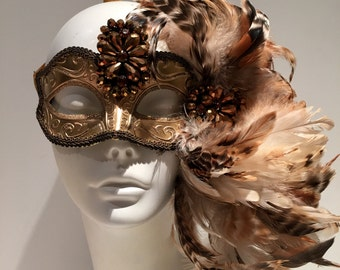 Gold Mask for Masked Ball- Masquerade Mask- Costume party mask- Masquerade Ball- Mardi Gras Mask- Gold Masq- New Year Mask- Halloween mask