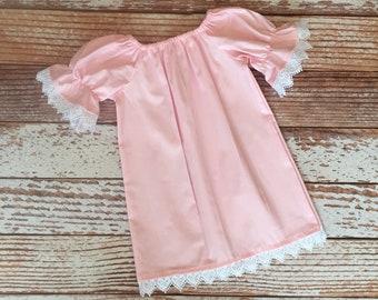 Easter Dress - Spring Dress -  Peasant Dress - Flower Girl Dress - Girl, Toddler Girl, Baby Girl - Size 12M thru 11/12 - White Lace Trim