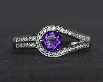 natural amethyst ring promise ring round cut purple gemstone February birthstone sterling silver ring