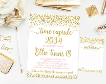 Time capsule first birthday sign with cards, confetti birthday party, pink and gold first birthday, gold sparkles, printable print No. 004