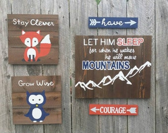 """Rustic Wall Art 5 Pc Set, """"Let Him Sleep For When He Wakes He Will Move Mountains"""""""