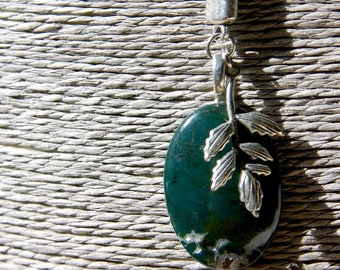 Natural Moss Agate Lariat Necklace & Leaf, Long Necklace Gift For Her, Moss Agate Pendant Spiritual Necklace, Gemstone Lariat Long Necklace