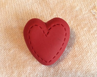 Polymer clay Valentines Day Heart Pin/brooch