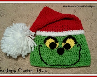 Smiling Grinch Inspired Santa Hat