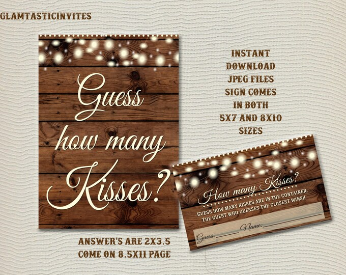 How Many Kisses Game, Guess How Many Kisses, Rustic Shower Game, Rustic Baby Shower, Rustic Bridal Shower, Rustic Guess how many Kisses Game