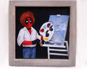 Deadpool - Bob Ross 3D paper art