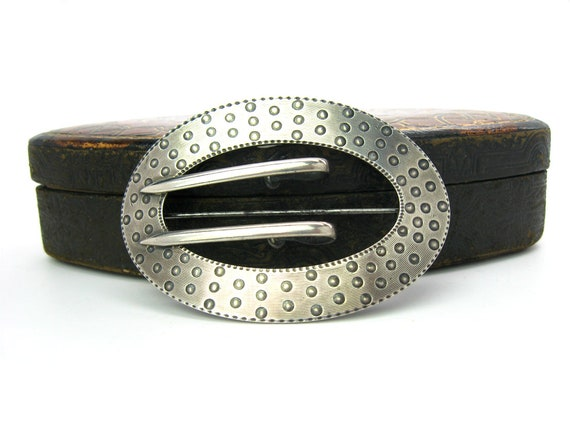 Antique Arts and Crafts Victorian Sash Buckle Sterling Silver Brooch by Eckfeldt & Ackley