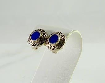 Lapis Sterling Clip Earrings
