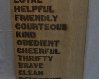 "Boy Scout Law 24"" by 36"" Laser Engraved Oak Plywood"