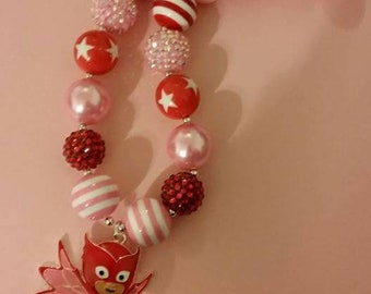 Child size Owlette chunky bead necklace