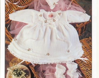 Baby Knitting Pattern - Dress Bonnet and Bootees - ORIGINAL Sirdar Knitting Pattern