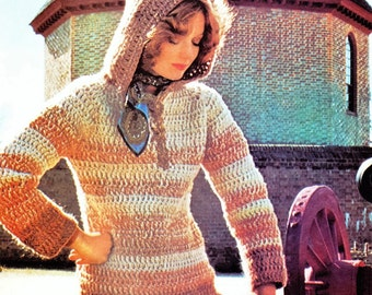 Crochet Sweater Lace-up Pullover Long-Sleeved Hooded PATTERN, Crochet Sweater  PATTERN,   Digital Download