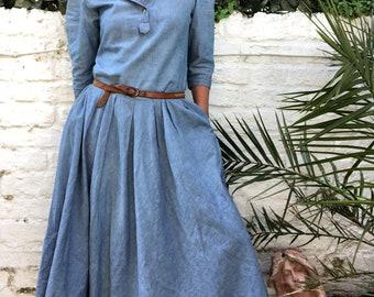 Vintage 80s Denim Midi Dress
