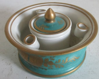 French circular porcelain inkwell with 3 pen holders
