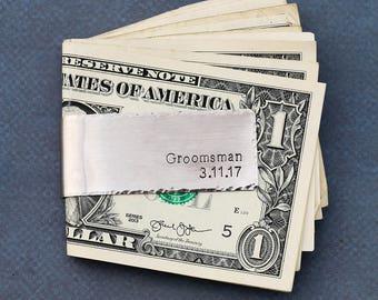 Groomsman Gift Custom Best Man Gift Wedding Money Clip • Silver Money Clip Wedding Date Bridal Party Gift Guys Accessory Man Gift • QQQ