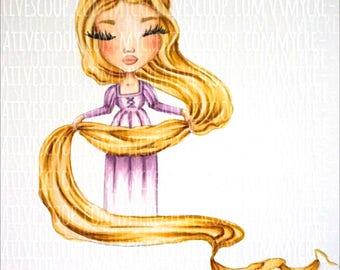 Digital Stamp Rapunzel (Tangled) - Princess Coloring Page - Princess Digi - Instant Download for Cardmaking