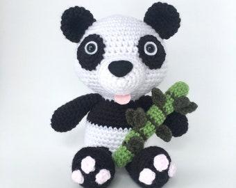 Crochet amigurumi pattern: Panda with bamboo stick