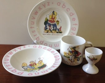 Child's Ironstone Breakfast Set 4 Piece Vintage 1984 Unused in Box Made in Korea Nursery Rhyme Character and Pink Alphabet Lettering Design