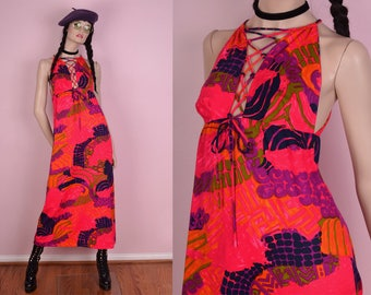 70s Colorful Maxi Dress/ XS/ 1970s