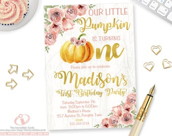 Pumpkin Invitation, Our Little Pumpkin, Pumpkin Birthday Invitation, Fall, Pumpkin, Autumn, Pink and Gold, Roses, Watercolor