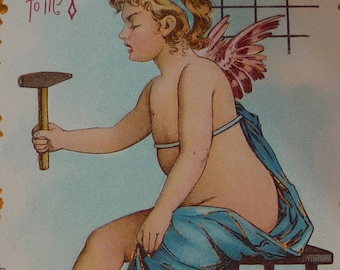 Cupid Chained to Large Red Heart Antique Valentine Postcard