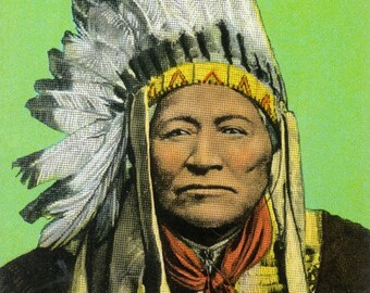 Chief Washakie Portrait - Vintage Halftone (Art Print - Multiple Sizes Available)