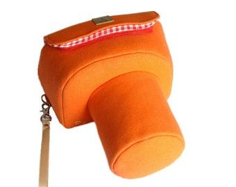 Solid Orange Bright Gray--  Nikon Canon Samsung Fuji Fujifilm DSLR / SLR / DC etc Camera Case Bag Purse