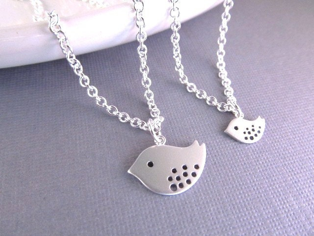 Mother daughter necklace silver bird charms sisters zoom aloadofball Images