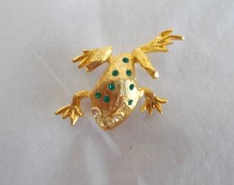Vintage Small Goldtone Frog Brooch // 20