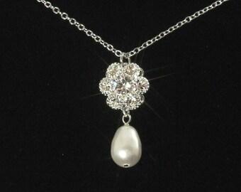 Crystal Bridal Necklace, Pearl Wedding Necklace, Rhinestone Bridal Jewelry, Silver, Pendant Necklace, Bridesmaid Necklace  -- BELLA
